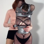 Lesbian bondage of slave Isanne in tape restraints and ropes
